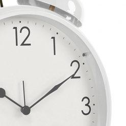 Close up image of large white alarm clock