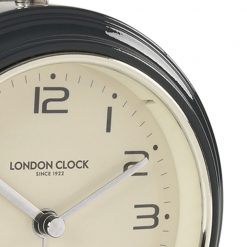 Close up image of charcoal alarm clock with metal hands