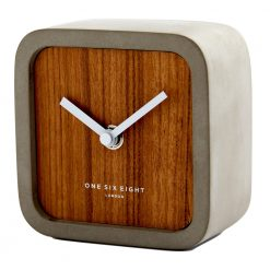 Perspective view of silent mantel clock with wooden face