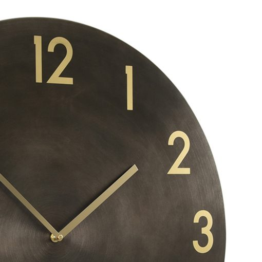 Close up view of large gun metal wall clock with bronze numbers
