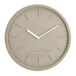 Front image of dark concrete silent wall clock with white hands