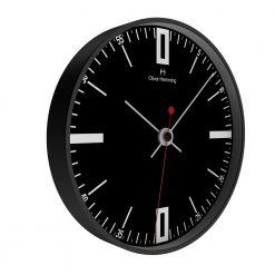 Angled photo of domed glass wall clock in black chrome steel colour
