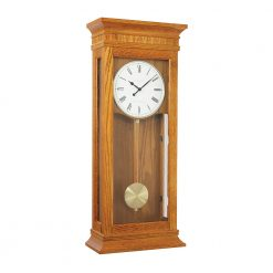 Image of large pendulum wall clock with wooden case