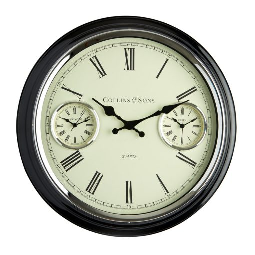 Image of metal multi time wall clock with roman numerals