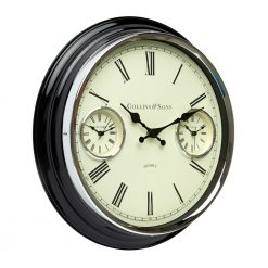 Angled photo of multi-time wall clock with metal case