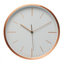 Image of rose copper wall clock with white face