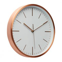 Angled photo of white wall clock with rose copper outer case
