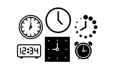 Range of different clock icons